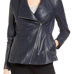 Via Spiga navy Leather Jacket