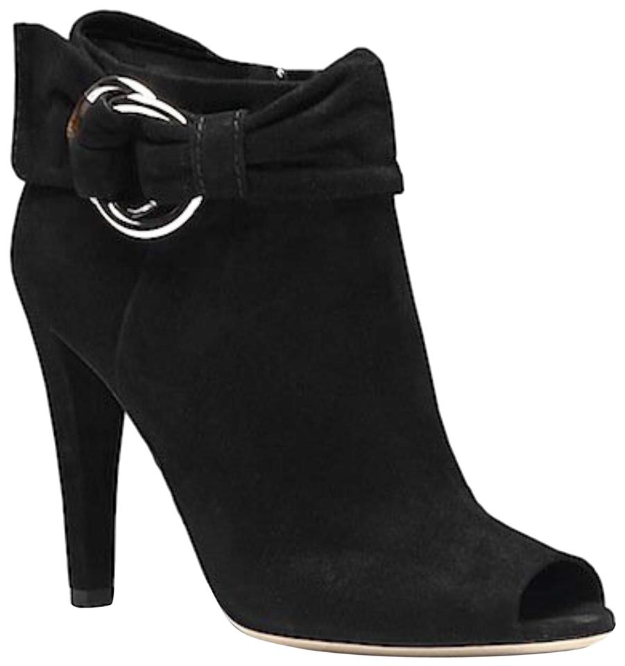 0be5f56d41a Gucci Black Jungle Suede High Heel Peep Toe Boots/Booties Size EU 37  (Approx. US 7) Regular (M, B) 74% off retail