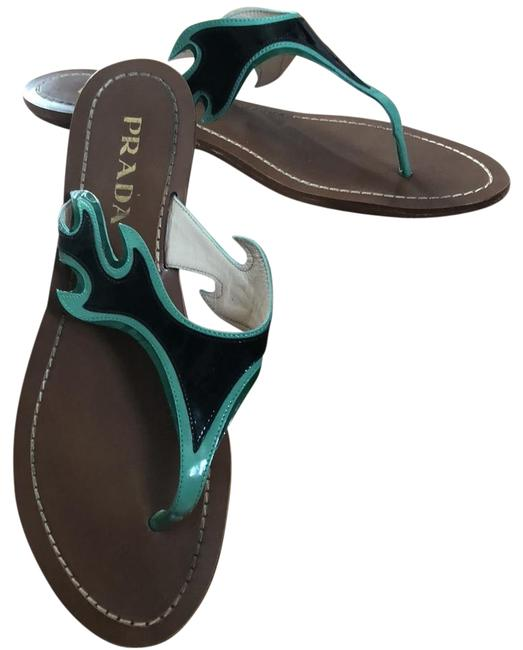 Prada Black Green Accents Flame Rare Cult Sandals Size US 7 Regular (M, B) Prada Black Green Accents Flame Rare Cult Sandals Size US 7 Regular (M, B) Image 1