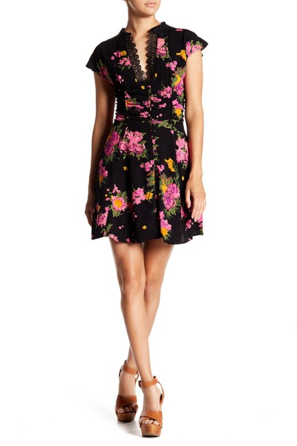 Free People short dress MIDNIGHT Floral Lace Boho on Tradesy