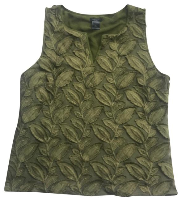 Preload https://img-static.tradesy.com/item/24290596/ann-taylor-green-textured-sleeveless-blouse-size-8-m-0-3-650-650.jpg