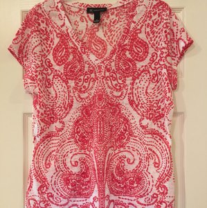 INC International Concepts Macy's Sequin Top White field with fuschia pattern