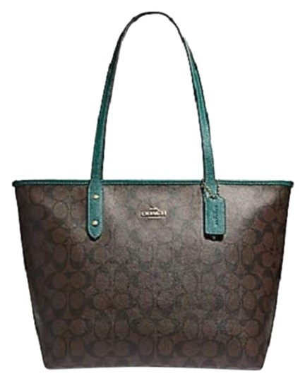Preload https://img-static.tradesy.com/item/24290620/coach-city-glitter-zip-tote-turquoise-f32191-brown-leather-shoulder-bag-0-3-540-540.jpg
