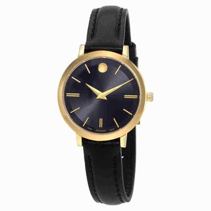 Movado Movado Ultra Slim Black Dial Ladies Watch 0607095
