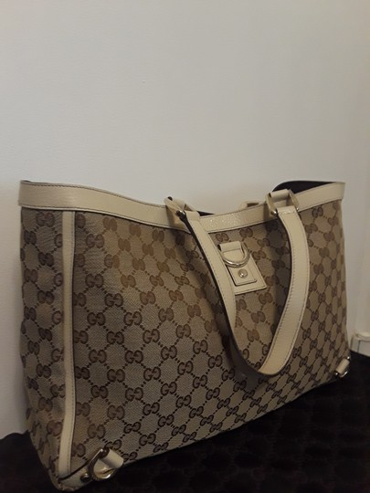Gucci Studded Leather Monogram Damier Canvas Signature Tote in Brown and White