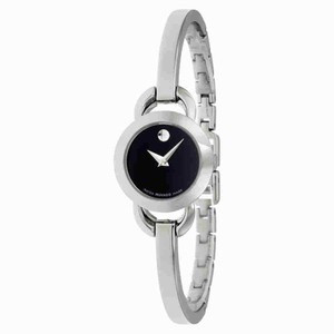 Movado Movado Rondiro Black Dial Stainless Steel Bangle Ladies Watch 0606796