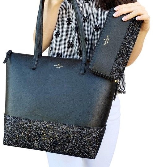 Preload https://img-static.tradesy.com/item/24290653/kate-spade-greta-court-penny-glitter-large-top-zip-wallet-set-black-leather-tote-0-3-540-540.jpg