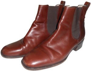 Bally Classic Rubber Sole Leather Made In Italy Fine Leather Brown Mahogany Boots