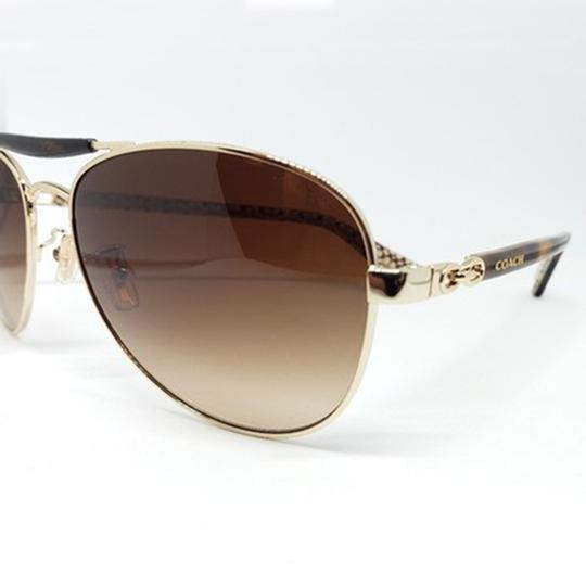 Coach Women Aviator Sunglasses Metal Frame with Brown Gradient Lens