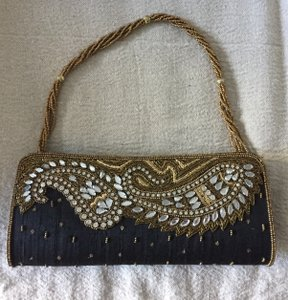 India Crystal Beads Sequins Holiday Paisley Black & Gold Clutch