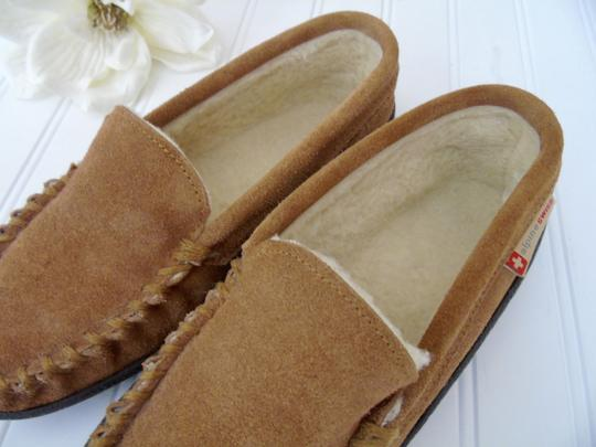 Alpine Swiss Leather Moccasins Driving Mocs Moccasins Leather Slippers Tan Suede Flats