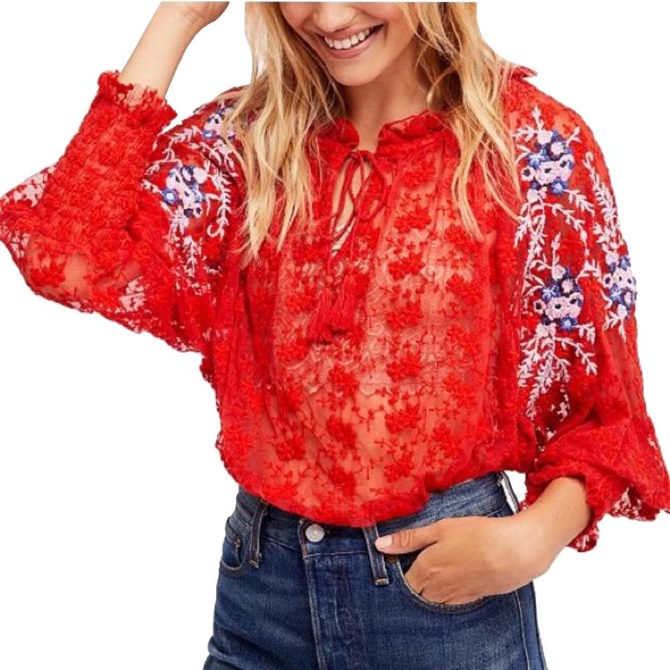868d7249f22ab9 Free People Red Jubilee Blouse Size 8 (M) - Tradesy