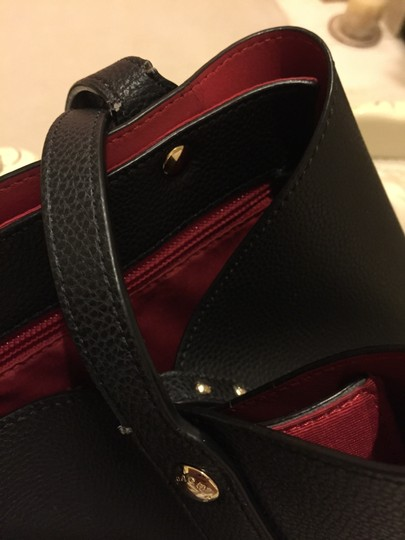 Coach Interior Leather Tote in Black and Red