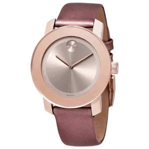 Movado Movado Bold Carnation Gold Dial Rose Leather Ladies Watch 3600457