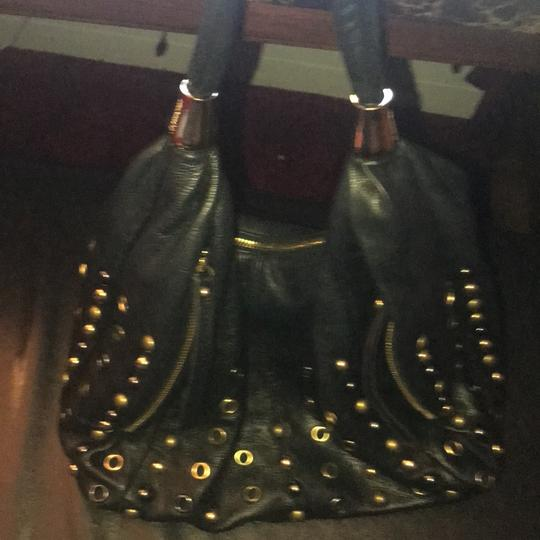 B. Makowsky Leather Studded Hobo Bag