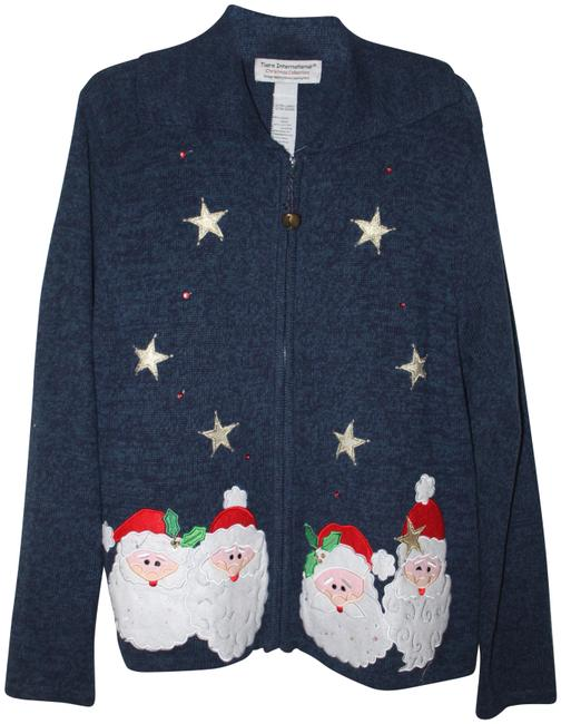Item - Navy Christmas Sweater; Christmas Collection Cardigan Size 16 (XL, Plus 0x)