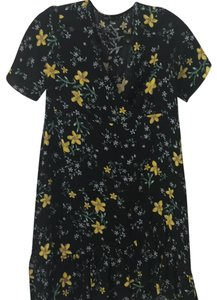 Zara short dress Black with yellow & blue flowers on Tradesy