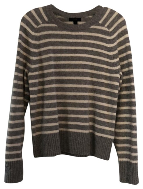 Preload https://img-static.tradesy.com/item/24290882/jcrew-holly-striped-wool-crewneck-gray-and-white-sweater-0-3-650-650.jpg