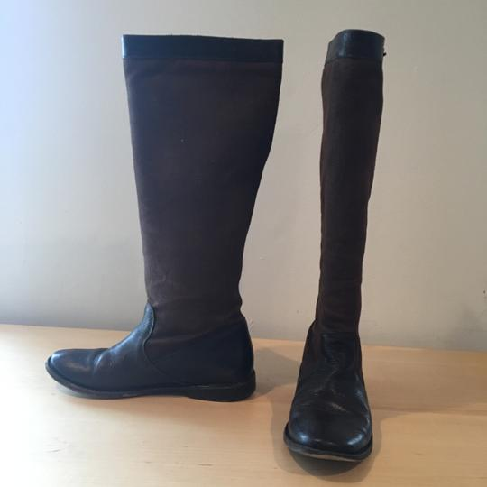 Frye Riding Leather Canvas Knee High brown Boots