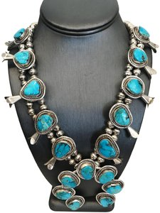 HANDMADE VINTAGE NATIVE AMERICAN TURQUOISE NECKLACE STERLING BLOSSOM SQUASH