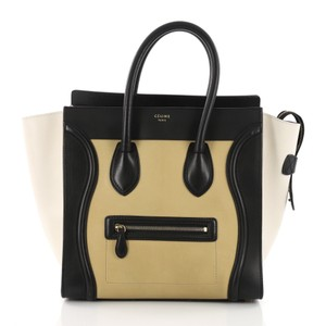 Céline Leather Tote in yellow, off white and black