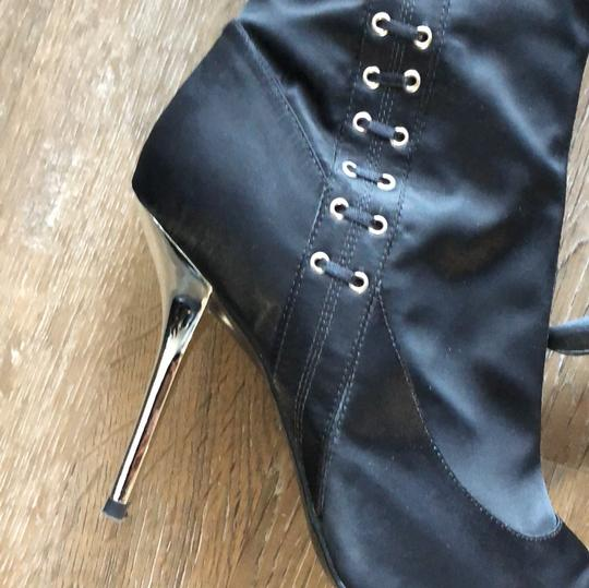 BCBGeneration Silver Hardware Pointed Toe Satin Black Boots