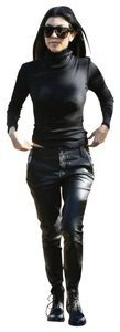 RtA Lucy Leather Stretch Leather Lucy Leather Zipper Accents Skinny Pants Black