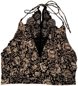 Free People Lace Crop Halter Floral Top Black Combo
