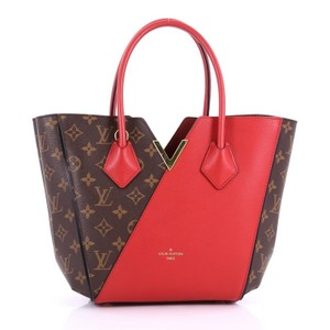 Louis Vuitton Canvas Leather Tote in brown and red