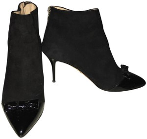 Charlotte Olympia Spider Zippers Leather Point Toe Black Boots