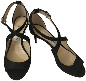 Jimmy Choo Black Shimmer Suede Sandals