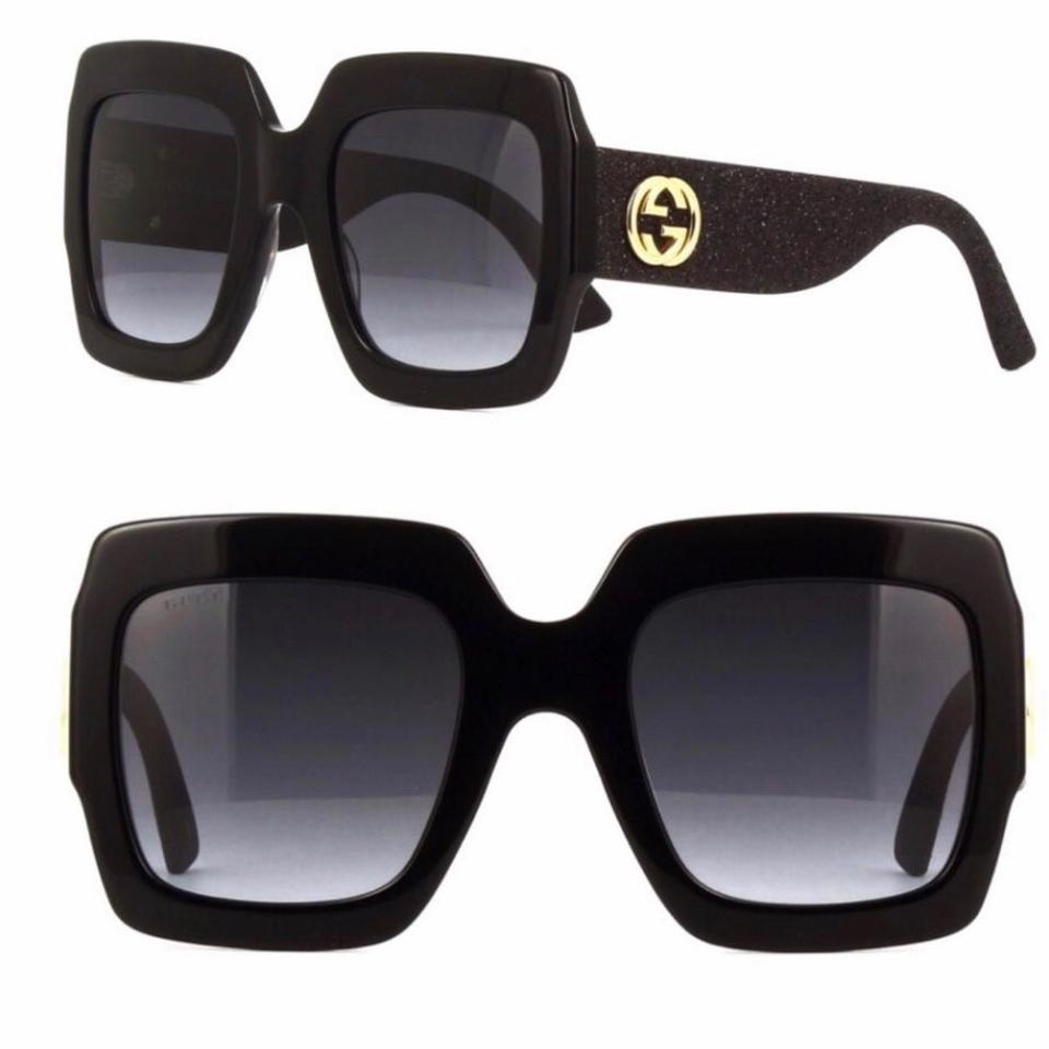 570239dc46 Gucci Black Square Glitter Arms Sunglasses - Tradesy