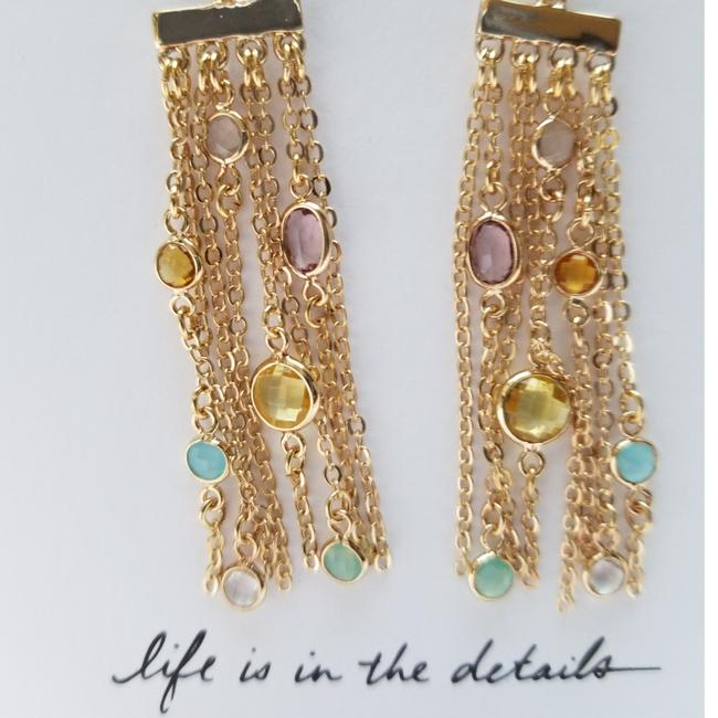 Item - Gold Tone with Multi Pastel Stones Tasdle Earrings