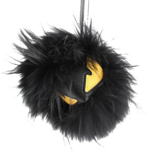 Fendi Fendi Black Leather Fox Fur Cube Monster Bag Bug Charm