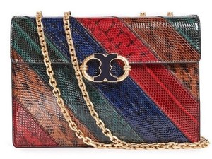 Tory Burch Tote in Multicolor red navy snakeskin