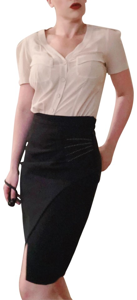 5588d5f653 L AGENCE Black Pleated Stitched Slit Front Pencil Skirt Size 8 (M ...