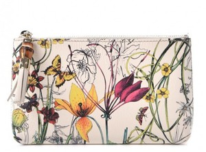 Gucci Gucci Calfskin Infinity Flora Print Small Pouch White