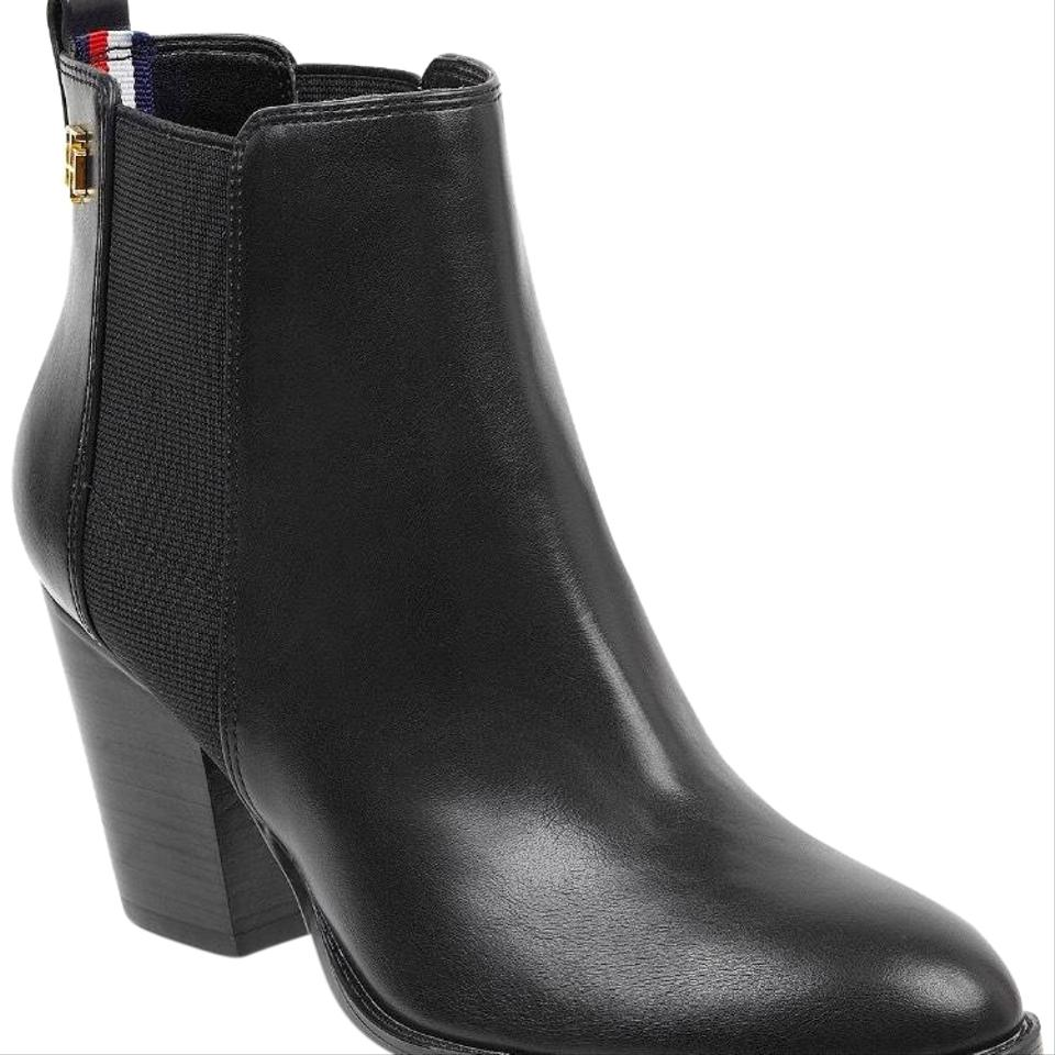 Tommy Hilfiger Black Regise Block-heel Ankle Boots Booties Size US ... be4388a5523a2