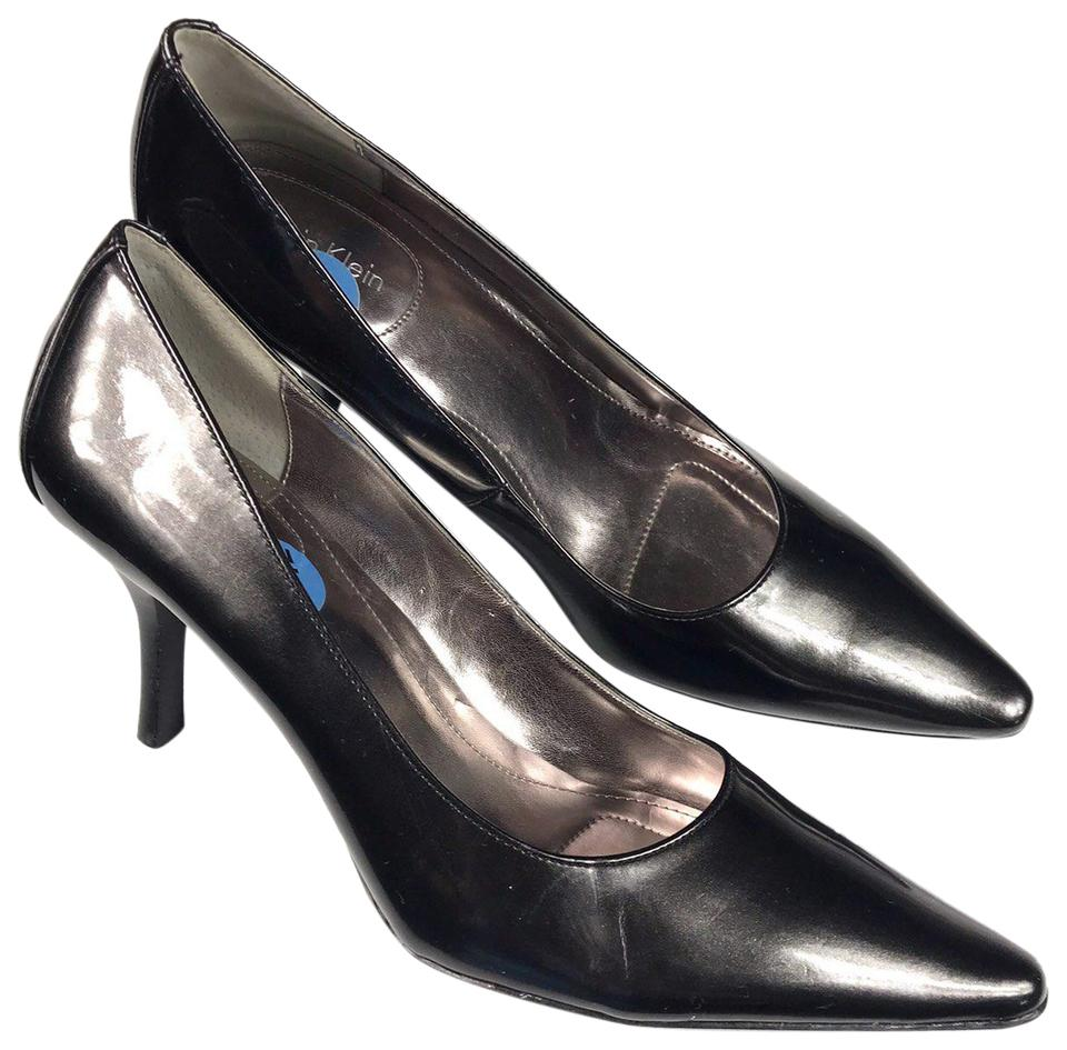 4cf252ecf2ee Calvin Klein Patent Leather Pointed Toe Charcoal Black Pumps Image 0 ...