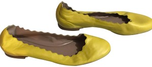 Chloé Leather Scalloped Soft Yellow Flats