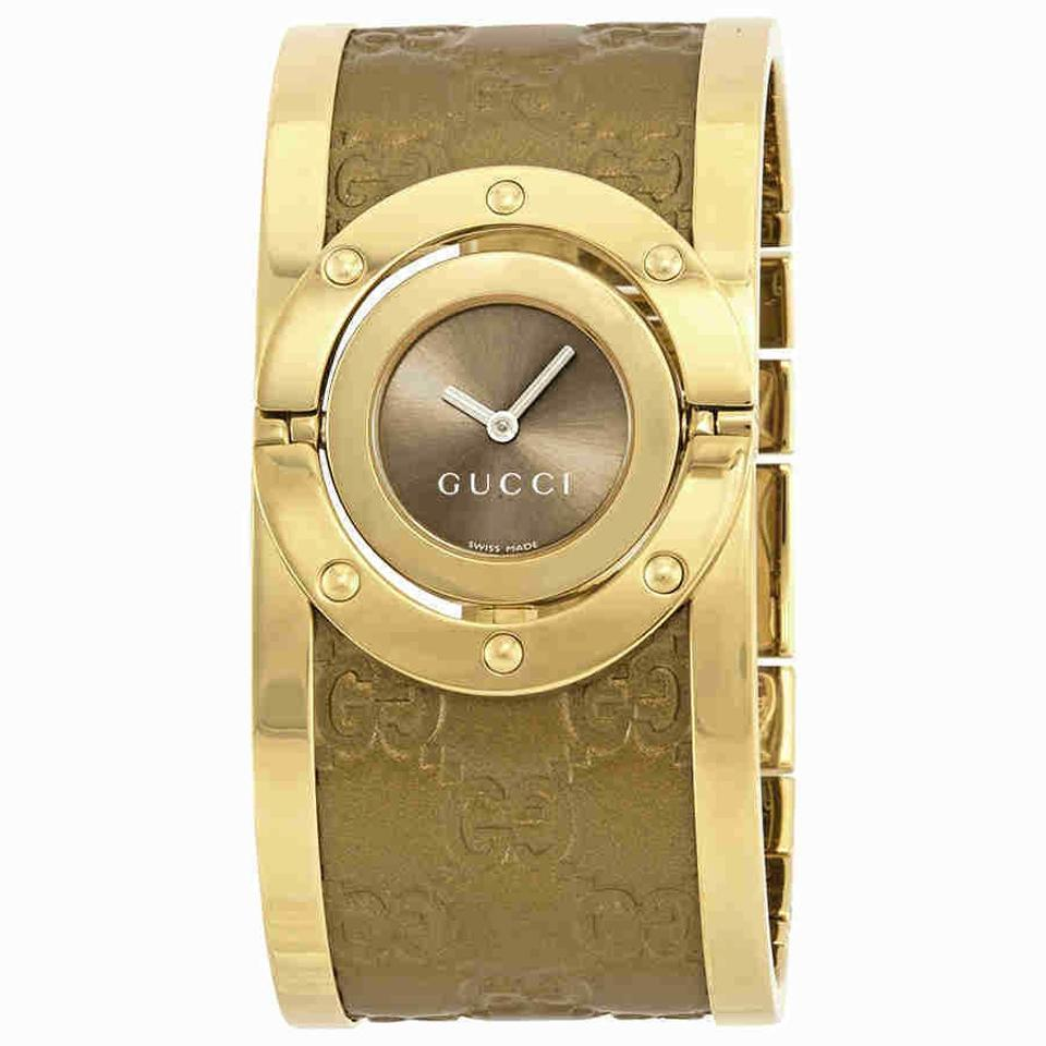93cc2cfd46d Gucci Gucci Twirl Brown Dial Gold-tone Steel with Leather Bracelet Ladies  Wa Image 0 ...
