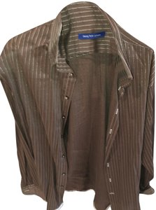 Georg Roth Los Angeles Button Down Shirt Brown and gold