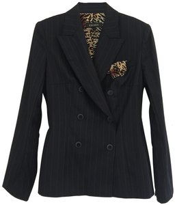 Escada Leopard Animal Silk Business Black Blazer