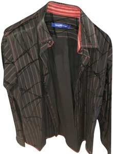 Georg Roth Los Angeles Fitted Velvet Button Down Shirt Black, Red