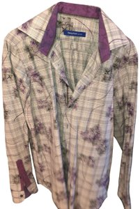 Georg Roth Los Angeles Floral Button Down Shirt Purple and White