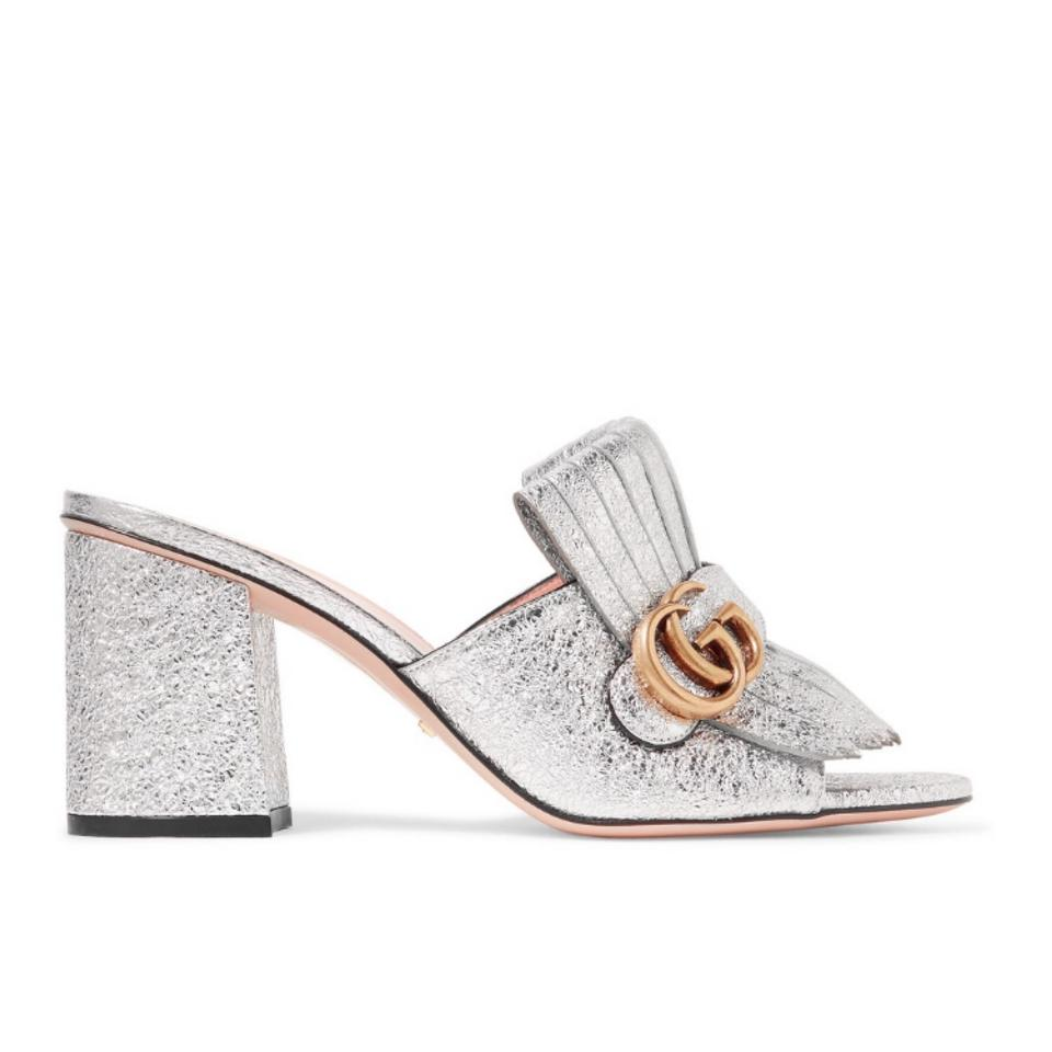 88279eb55a6 Gucci Marmont Fringed Metallic Leather Mules Heels Sandals Size US 7 ...