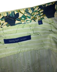 Georg Roth Los Angeles Fitted Button Down Shirt Green and white