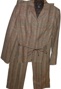 Focus 2000 tweed knit colorful 2 pc pant suit fitted jacket melon brown