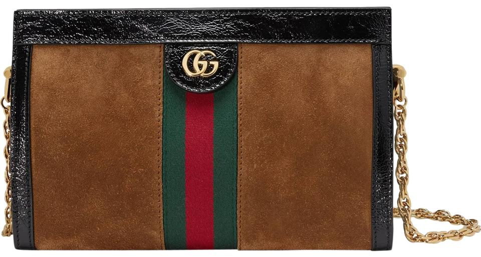 1b6dcb367 Gucci Linea New Ophidia Small Black Brown Suede Shoulder Bag - Tradesy