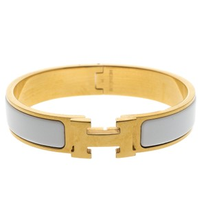 Hermès Clic Clac H White Enamel Gold Plated Narrow Bracelet PM